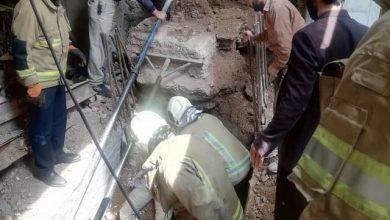 تصویر از سقوط مرگبار دیوار بتنی روی کارگر جوان