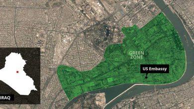 تصویر از یک راکت نزدیک سفارت آمریکا در بغداد اصابت کرد