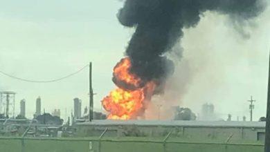 تصویر از انفجار در یک مجموعه صنعتی ایالت تگزاس آمریکا
