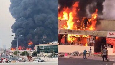 تصویر از خطای انسانی علت آتش سوزی بازار عجمان امارات